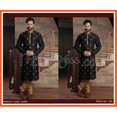 Black Mens Ethnic Kurta With Bottom