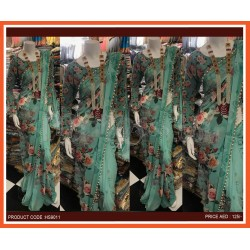 Digital Floral Printed Saree With Moti Lace