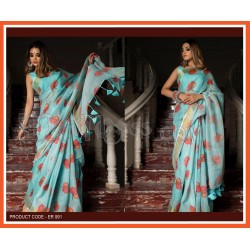 A Lilan Patta  fabric with Latkan less and Digital print Saree