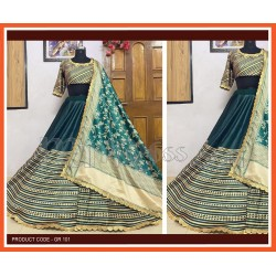 A Dark Green Colour  Printed Lehenga choli in heavy Golden Zari silk