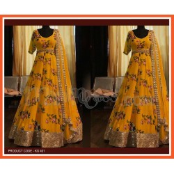 A NEW DESIGNER PARTY WEAR FANCY GOWN WITH DUPATTA