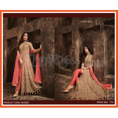 AB Center Slit Net Embroidered Suits
