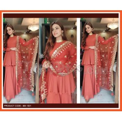 A HEAVY GEORGETTE WITH SEQUENCE NECK SUIT