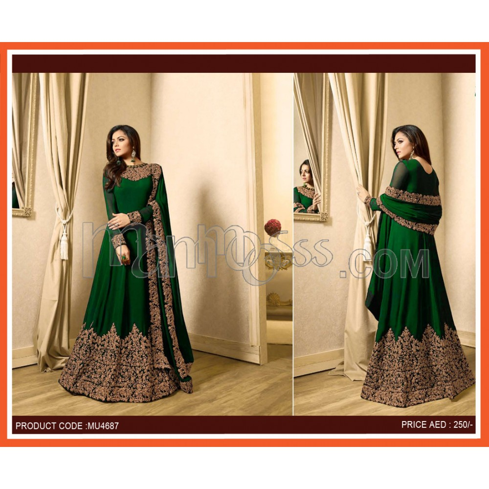 20e8c55d470 GREEN EMBROIDERED FAUX GEORGETTE ANARKALI SALWAR SUIT SEMI STITCHED