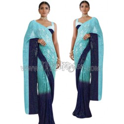 A SILK  SAREE WITH EMBROIDERY DESIGN WORK WITH PEARL DIAMOND WORK