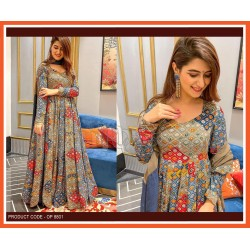 A SILK WITH DIGITAL PRINT GOWN WITH  DUPATTA