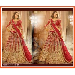 A Red Heavy Embroidered Lehenga