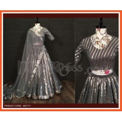 A Grey Lehenga And Blouse Are Beautified With Sequins Embroidered work