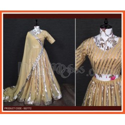 A  Lehenga And Blouse Are Beautified With Sequins Embroidered work