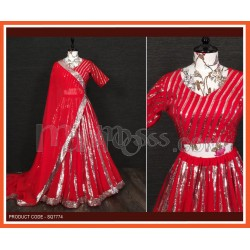 A Red Lehenga And Blouse Are Beautified With Sequins Embroidered work