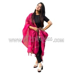 A Beautiful Pair Of Solid Black Pink Suit Straight Fit Pants with dupatta set