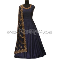 A silk Readymade gown With Dupatta