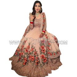 A GEORGETTE WITH EMBROIDERY SEQUENCES WORK WITH DAYMOND HAND WORK ANARKALI