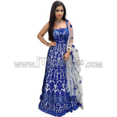A SILK WITH EMBROIDERY WORK  ANARKALI