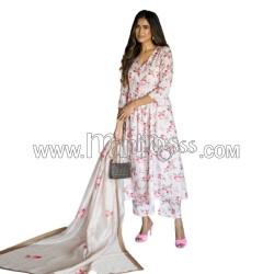 A  PRINTED BUTTER  SILK PALAZZO SUIT