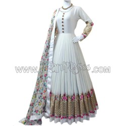 A WHITE ANARKALI  WITH EMBROIDERY WORK