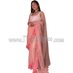 A PURE SOFT NET  SILK SAREE WITH ALL OVER SEQUENCE WORK