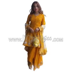 A YELLOW SHARARA WITH REAL MIRROR HAND WORK AND  EMBROIDERY WORK