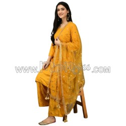 A Mustad Heavy Rayon Cotton With Mirror Embroidery Work  Suit