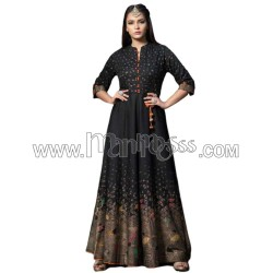 A Black Colour With Haevy Foil Work Full Flair Gown