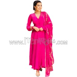 A Pink Plain Party Wear Anarkali With Pant And Dupatta
