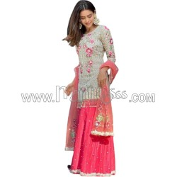 A GEORGETTE WITH EMBROIDERY WORK WITH MIRROR PIPE LATKAN BODAR SUIT