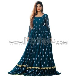 A GORGETTE ANARKALI WITH EMBROIDERY WORK AND RUFFLE