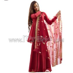 A GEORGETTE WITH SEQUENCE NECK  KURTI WITH PALAZZO