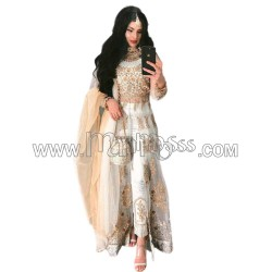 A  SOFT NET WITH EMBROIDERY WORK CENTER SIT ANARKALI