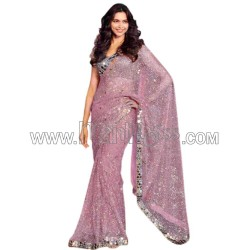 A PARTY WEAR SEQUANCE WORK SAREE WITH REAL MIRROR WORK