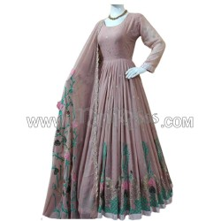 A  EMBROIDERY AND DAIMOND HAND WORK ANARKALI