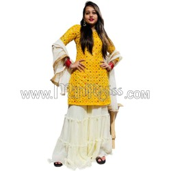 A YELLOW GORGETTE WITH  EMBROIDERY TOP WITH  RUFFLE PALAZZO