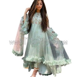A NET WITH EMBROIDERY WORK ANARKALI