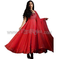 A RED  GEORGETTE  ANARKALI WITH EMBROIDERY SEQUENCES WORK