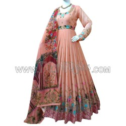 A GEORGETTE WITH EMBROIDERY WORK ANARKALI