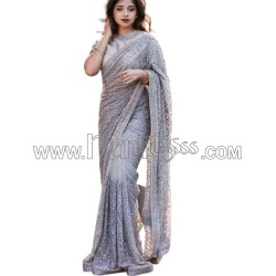 A Net Fabric With Chain Stich Work  Saree