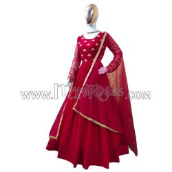A GEORGETTE WITH SIMPLE EMBROIDERY WORK  ANARKALI