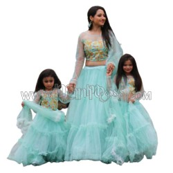 A  MOTHER AND DAUGHTER RUFFLE LEHENGA COMBO