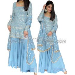 A  Embroidery With Sequnce Top And  Sequnce With Fancy lace and Latkan Broder Dupatta