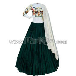 A  COTTON WITH GAMTHI EMBROIDERY WORK GREEN LEHENGA