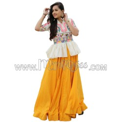 A YELLOW COTTON WITH EMBROIDERY WORK AND RUFFLE LEHENGA