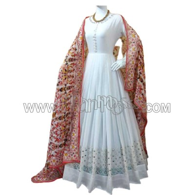 A PURE WHITE GEORGETTE WITH EMBROIDERY PEPAR MIRROR WORK ANARKALI