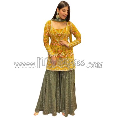 A EMBROIDERY WORK WITH RIYAL MIRROR HAND WORK SUIT