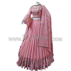 A GEORGETTE LEHENGA WITH EMBROIDERY WORK WITH RAFFLE