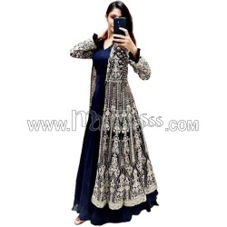 A GEORGETTE WITH  HEAVY EMBROIDERY SHINE WORK KOTI WITH GOWN