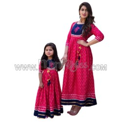 A  MOTHER DAUGHTER COMBO FROK STYLE KURTI