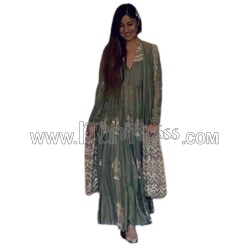 A  Georgette Silk  With Embroidery Work Anarkali