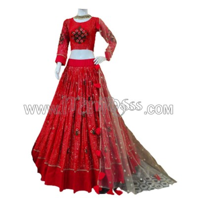 A RED LEHENGA WITH  EMBROIDERY AND SEQUENCE WORK