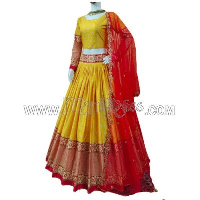 A YELLOW LEHENGA WITH RED COLOUR DUPATTA