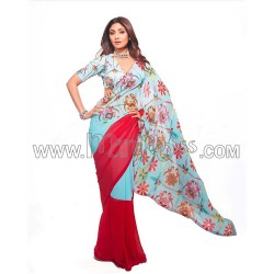 A Georgette fabric with digital print Saree and blouse